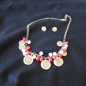 Talbots Cherry Pie Necklace and Earrings